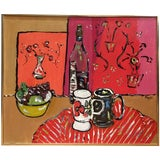 Image of Vintage Mid Century Modern Pop Art Abstract Still Life Oil Painting For Sale