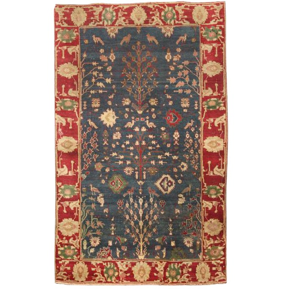 Antique 19th Century Indian Agra Rug For Sale