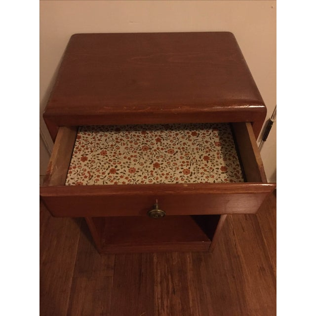 Vintage Wood One Drawer Nightstand Side Table - Image 5 of 5