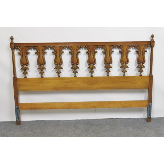 Mid 20th Century Italian Style Fruitwood Carved Kingsize Headboard For Sale - Image 5 of 5