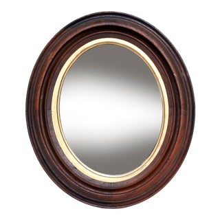 Antique Walnut Oval Mirror/Gold Insert For Sale