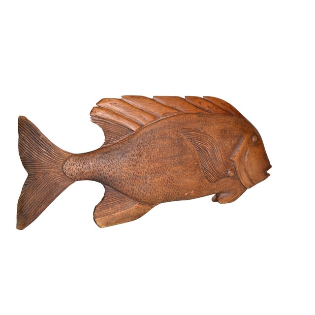 Hand Carved Wood Fish Platter For Sale In Miami - Image 6 of 10