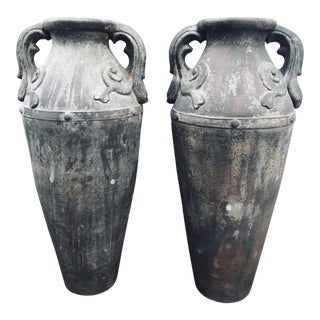 Greco-Roman Terra Cotta Urns- a Pair For Sale