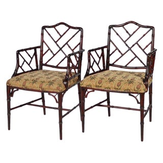 Pair of Chinese Chippendale Style Faux Bamboo Armchairs With Pineapple Fabric For Sale