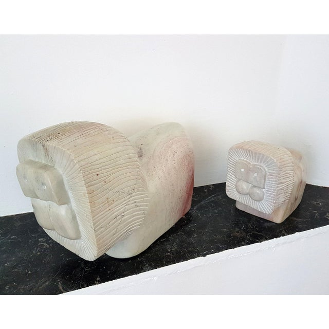 Pair of African Stylized Lion Stone Sculptures, Mid Century Modern, 1960s For Sale - Image 9 of 12
