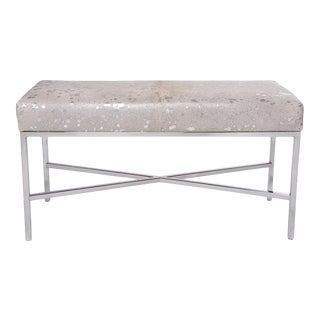 White Metallic Cowhide Bench For Sale