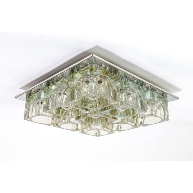 Lightolier Lightolier Glass Blocks 9-Light Flush Mount For Sale - Image 4 of 13