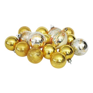 Gold & Silver Christmas Ornaments S/16 For Sale