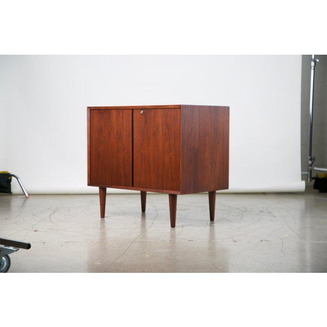 Small Mid-Century Modern Lockable Walnut Cabinet or Mini-Bar or Dry Bar For Sale - Image 4 of 13