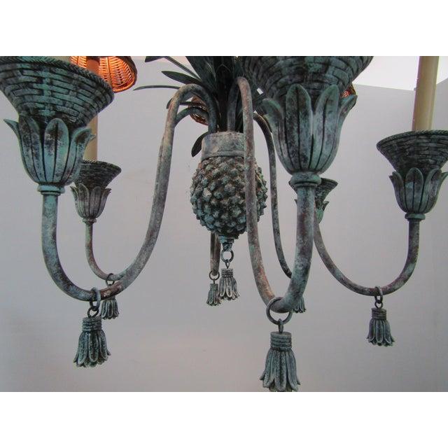 1980s Six Lamp Verdi-Gris Pineapple Chandelier For Sale - Image 5 of 7