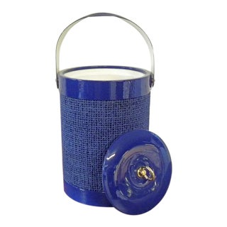 1960s Vintage New Old Stock Bright Blue Ice Bucket For Sale
