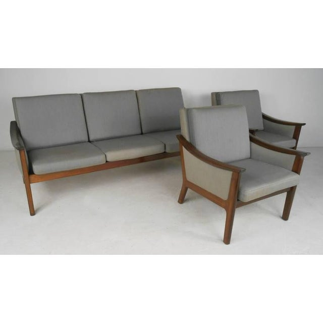 Mid-century Ole Wanscher Style Living Room Suite- Set of 3 For Sale - Image 10 of 10