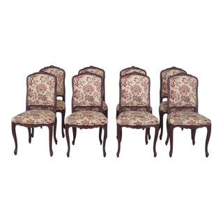 French Louis XV Style Upholstered Dining Room Chairs - Set of 8 For Sale