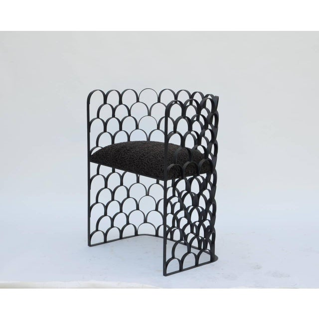 Contemporary Sculptural Wrought Iron and Astrakhan Wool 'Arcature' Stool by Design Frères For Sale - Image 3 of 9