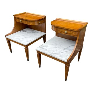 Grosfeld House Hollywood Regency Mid Century Modern Empire Walnut & Marble End Tables - a Pair For Sale