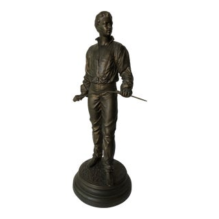 Antique Fencing Statue by Rene Charles Masse Signed For Sale