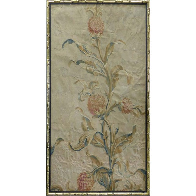 A triptych of three 18th century European Aubusson floral panel tapestries typically referred to as portaniers. The panels...