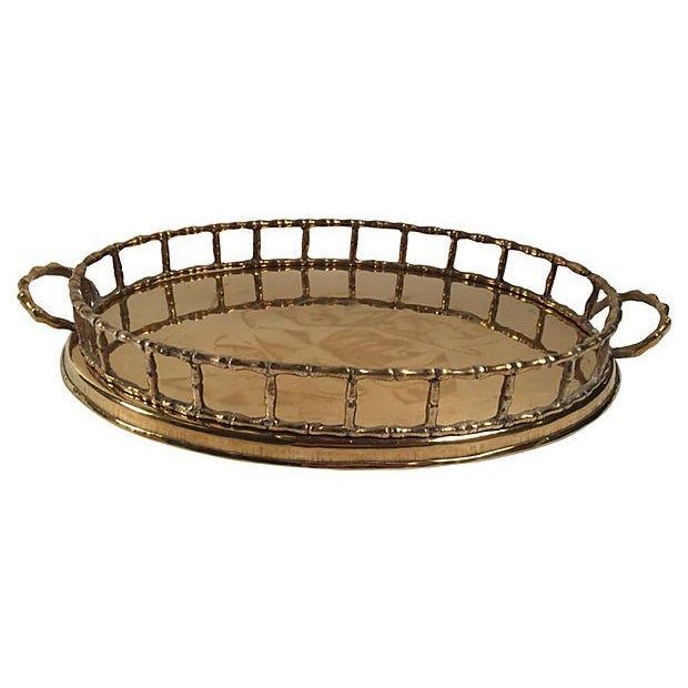 Oval Brass Bamboo Rail Tray - Image 1 of 4