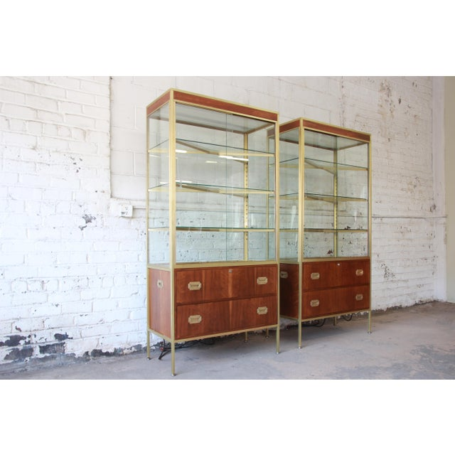 Baker Furniture Hollywood Regency Campaign Style Lighted Display Cabinets - a Pair For Sale In South Bend - Image 6 of 13