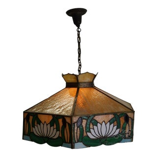 Antique Arts & Crafts Stained Glass Hanging Chandelier Light Fixture For Sale