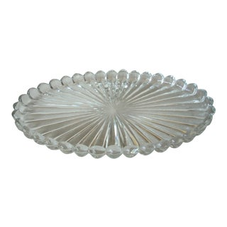 1960s Traditional Heisley Glass Ribbed Platter For Sale