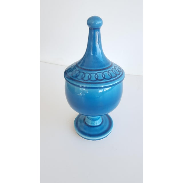 Mid Century Glazed Ceramic Cerulean Blue Compote Apothecary Jar with Lid For Sale - Image 9 of 9