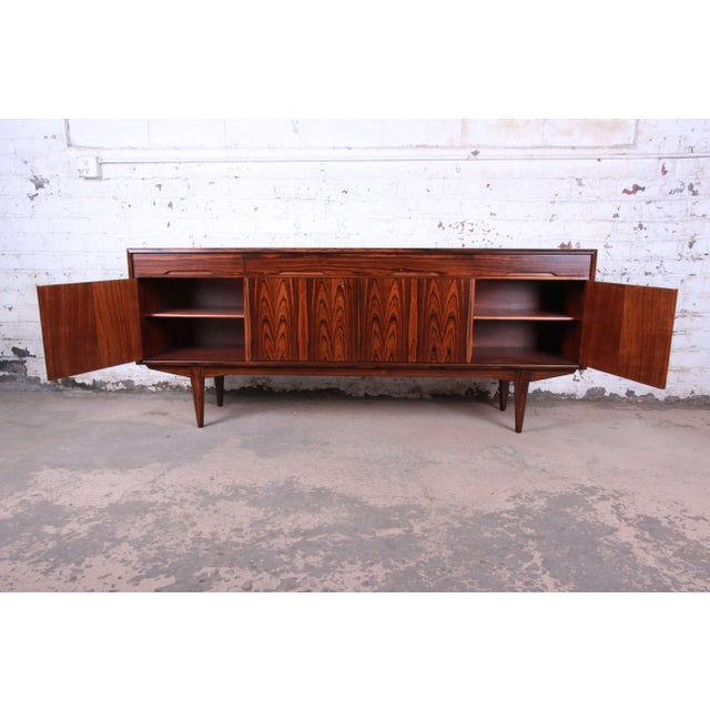 Danish Modern Rosewood Sideboard Credenza, Newly Refinished For Sale In South Bend - Image 6 of 12
