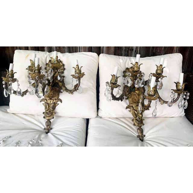 French Rococo Gilt Bronze and Crystal Sconces With Five Arms, Circa 1820 - a Pair For Sale - Image 13 of 13