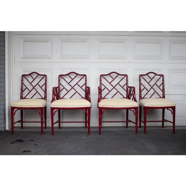 1960s Vintage W J Sloane Red Lacquered Faux Bamboo Chippendale