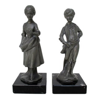English Pewter Figurines - Set of 2 For Sale