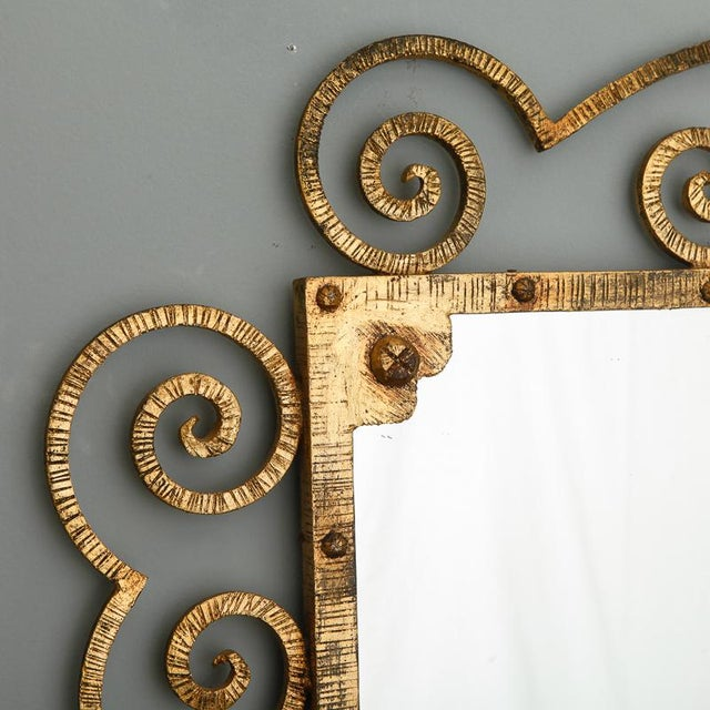 Gold 1960s Large Italian Gilt Metal Horizontal Scrollwork Mirror For Sale - Image 8 of 8