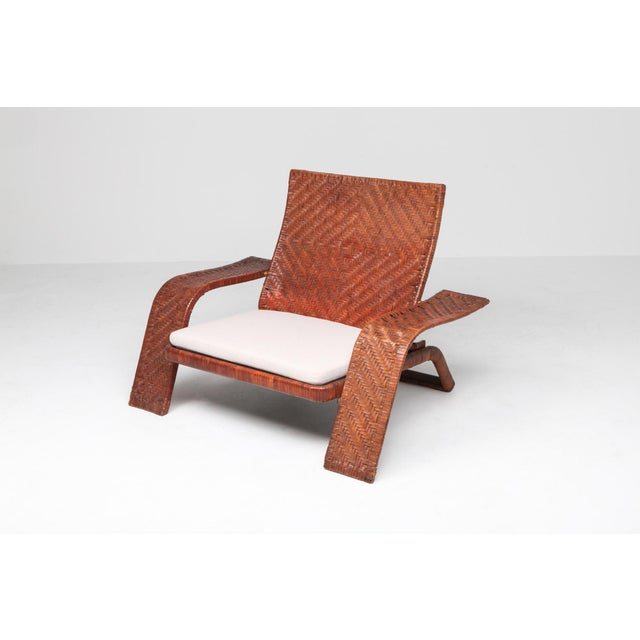 1970s Postmodern Lounge Chair in Woven Leather by Marzio Cecchi For Sale - Image 6 of 10