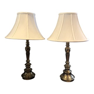 1990s Vintage Stiffel Brass Table Lamps- A Pair For Sale