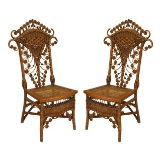American Victorian Natural Wicker Side Chairs For Sale
