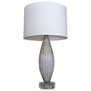 1950s French Murano Oval Glass White Aventurine Table Lamp