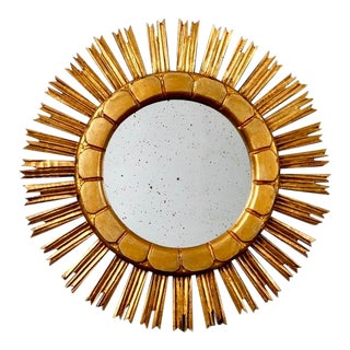 Mid-Century Medium Size Giltwood Sunburst Mirror For Sale