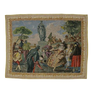 "Vintage Venetian Tapestry After the Minuet, Carnival Scene by Tiepolo - 5'7"" x 7'1"" For Sale"