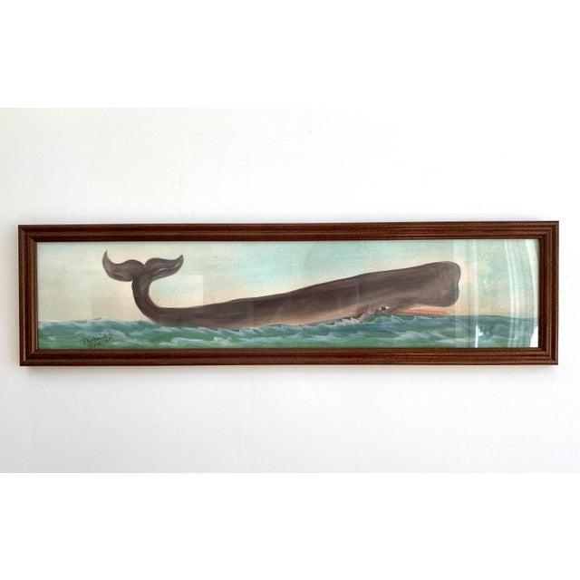 Original Nautical Whale Watercolor Painting For Sale - Image 4 of 4