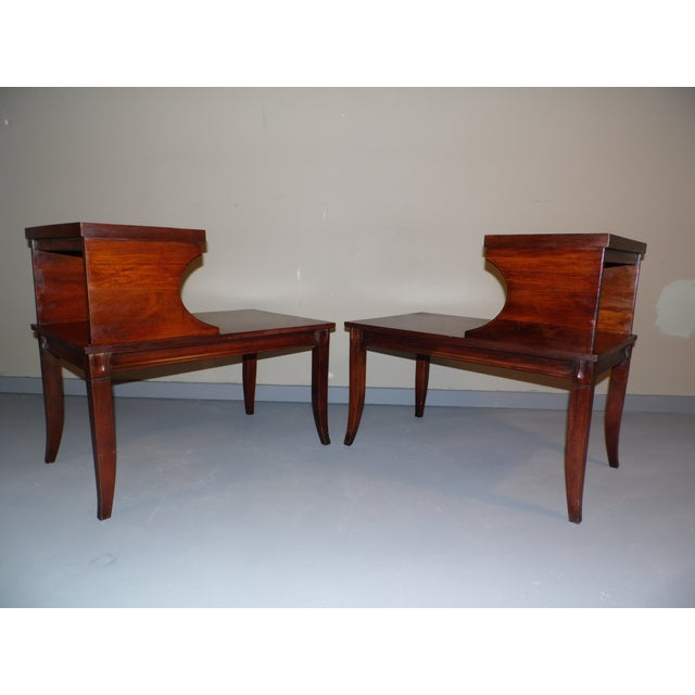 Vintage Federal Style Step Sabre End Tables - A Pair For Sale In Providence - Image 6 of 10