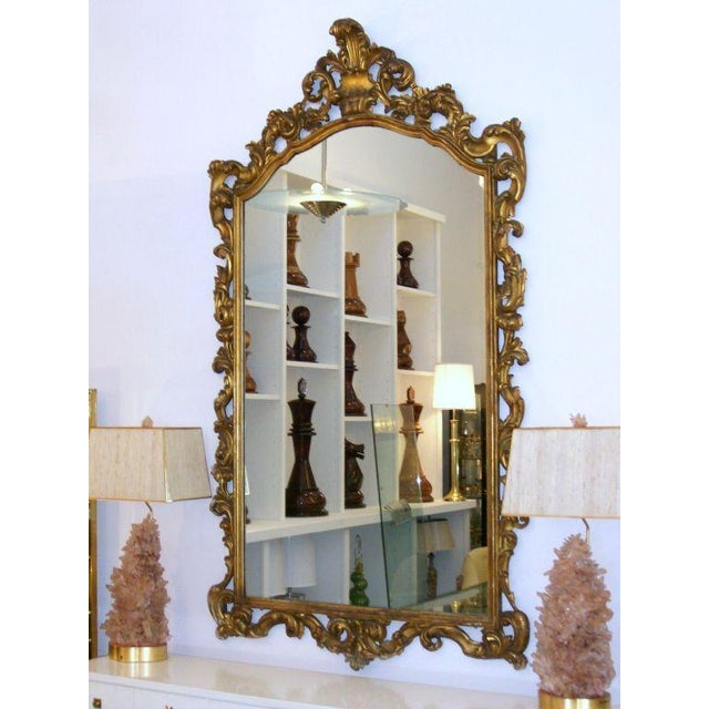Gold Gilt Carved Wood Palatial Mirror For Sale - Image 4 of 6