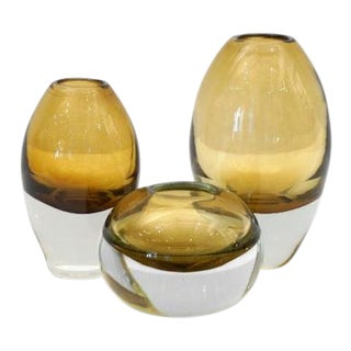 Set of 3 Molded Cognac Yellow Glass Vases For Sale