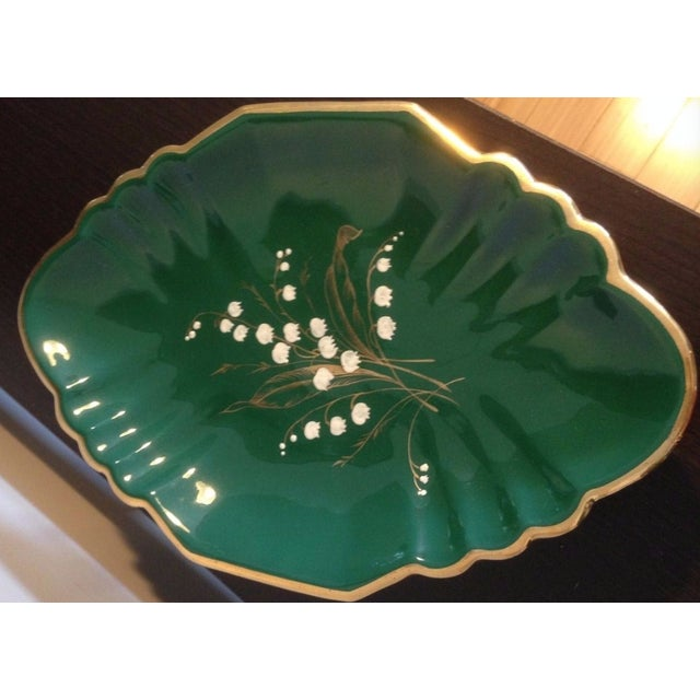 Green 1930s Antique Egisto Fantechi Floral Majolica Porcelain Dish For Sale - Image 8 of 12