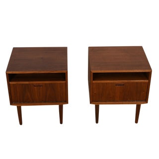Pair of Danish Modern Nightstands / Side Tables in Walnut by Falster