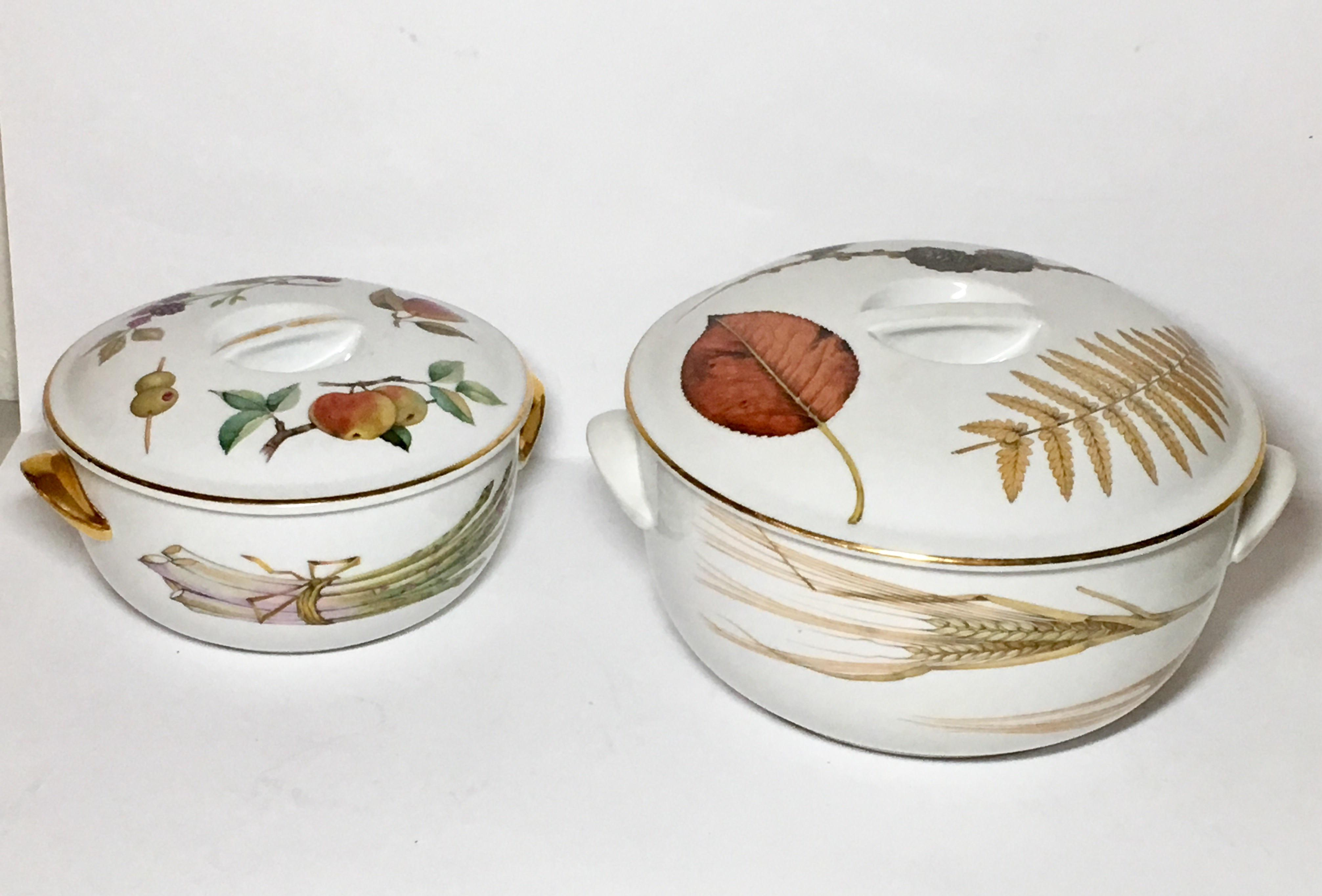 These Are Oven To Table Vegetable Casseroles With Lids. One Has Gold  Trimmed Handles,