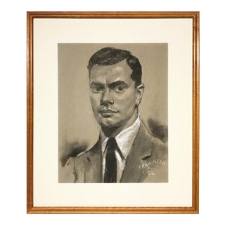 Vintage Mid Century Male Charcoal Portrait Drawing 1956 For Sale
