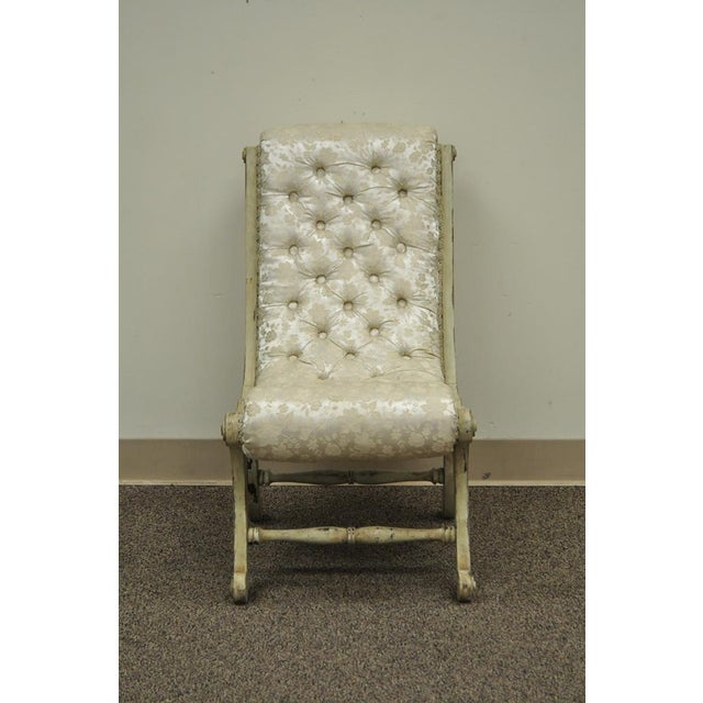 Antique Small Victorian Tufted Carved Wood Distress Painted Slipper Accent Chair - Image 3 of 11
