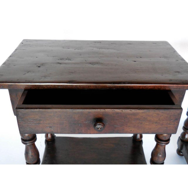 Pair of Custom Walnut Side Tables/Nightstands with Turned Legs, Drawer and Shelf For Sale - Image 4 of 8