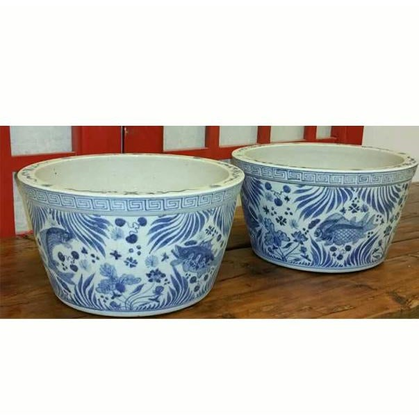 Asian Modern Blue And White Porcelain Fish Bowl Planter Chairish
