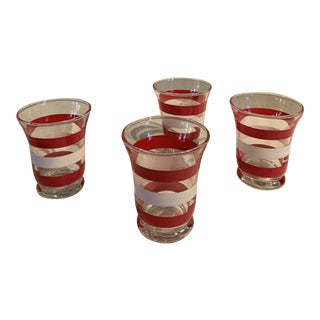 1950s Mid-Century Red and White Striped Glass Barware - Set of 4 For Sale