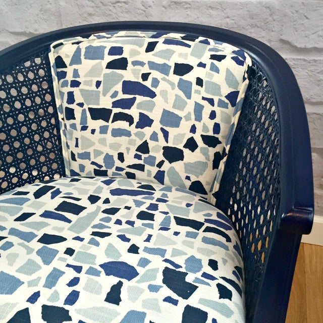 Navy Barrel Chair - Image 3 of 5